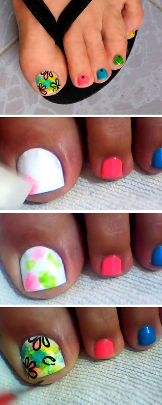 Multicolored and Flowers   18 DIY Toe Nail Designs for Summer Beach   Easy Toenail Art Designs for Beginners