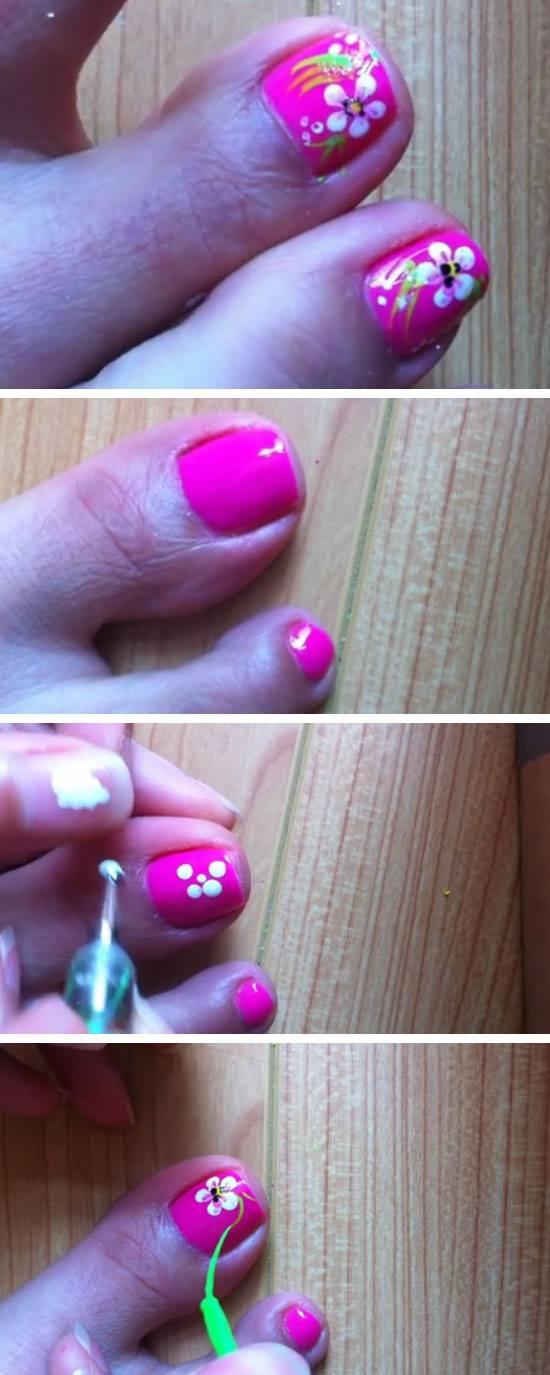 Pink and White Flowers | 18 DIY Toe Nail Designs for Summer Beach | Easy Toenail Art Designs for Beginners